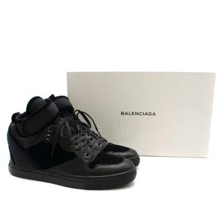 Balenciaga Paneled Velvet & Leather High Top Sneakers