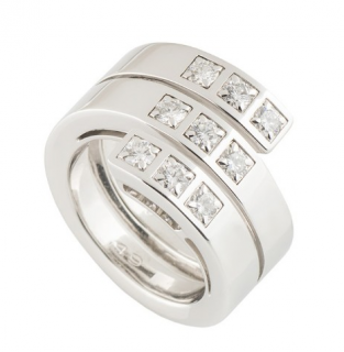Cartier Triple Diamond White Gold Band Ring