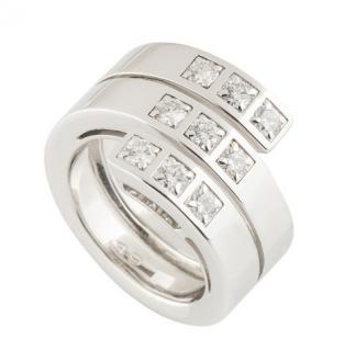Cartier Triple Diamond White Gold Band Ring