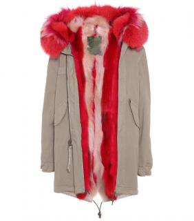 Mr & Mrs Italy Sage Army Parka W/ Pink & Red Fur Trim