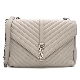 Saint Laurent Grey Chevron Quilted Leather College Bag