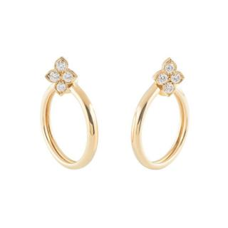 Cartier Yellow Gold Diamond Open Hoop Earrings