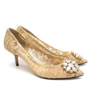 Dolce & Gabbana Gold Bellucci Lace Pumps