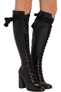 Chloe Lace-up Leather Knee Boots
