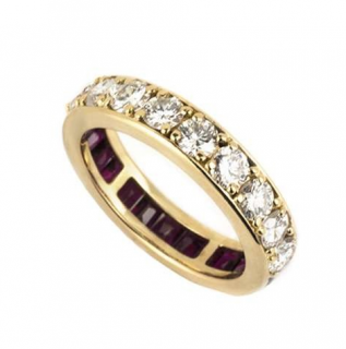 Bespoke 18k Yellow Gold Diamond & Ruby Dress Ring