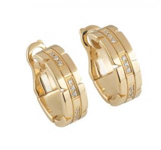 Cartier Yellow Gold Diamond Hoop Earrings