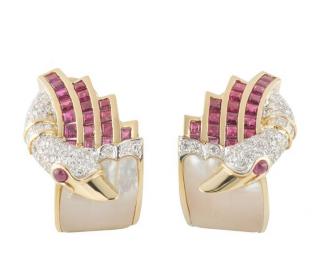 Bespoke Yellow Gold Diamond and Ruby Earrings