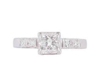 Bespoke Gia 18k White Gold Princess Cut Diamond Ring