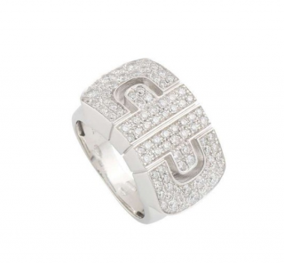 Bvlgari White Gold Pave Diamond Ring Size 48