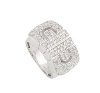 Bvlgari White Gold Pave Diamond Ring Size 48