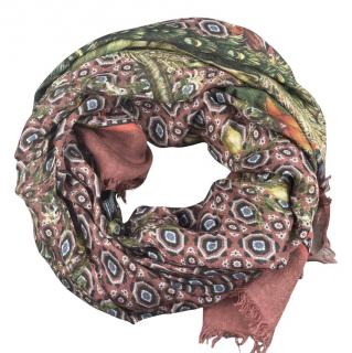 Dolce & Gabbana Peacock Print Cashmere Blend Scarf