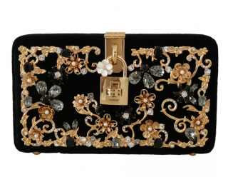 Dolce & Gabbana Black Velvet Embellished Box Clutch