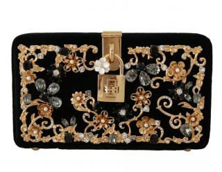 Dolce & Gabbana Black Velvet Embellished Box Clutch