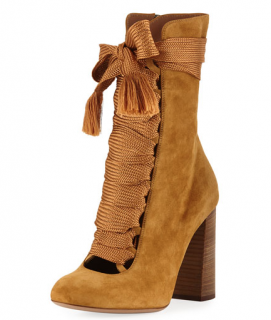 Chloe Suede Chunky Lace-Up Booties in Spicy Yellow