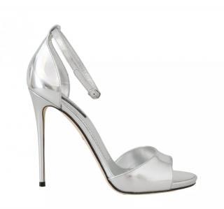 Dolce & Gabbana silver ankle strap sandals