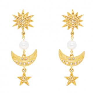 Osca De La Renta Star & Moon Earrings