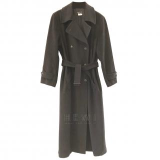 Agnes B Wool & Cashmere Blend Double Breasted Trench Coat