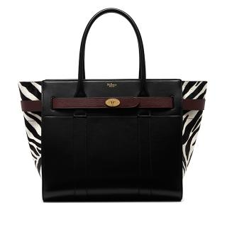 Mulberry Zipped Bayswater in Black, White & Oxblood Zebra Haircalf