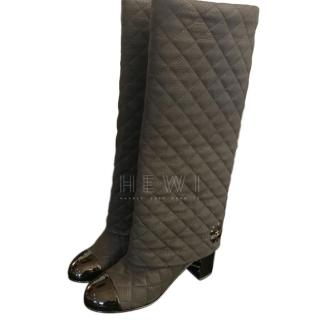 Chanel new quilted black leather and suede knee boots