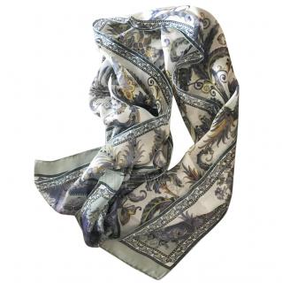Ferragamo blue and cream silk scarf