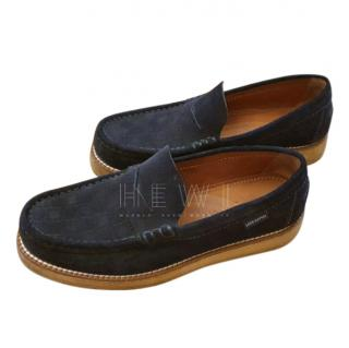 Louis Vuitton Authentic navy blue suede leather men's loafers moccasins shoes UK 8 EUR 42