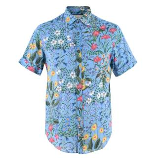 Gucci Men's Blue Floral Short Sleeve Cotton Shirt