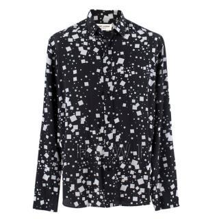 Saint Laurent Silk Square Print Long Sleeve Shirt