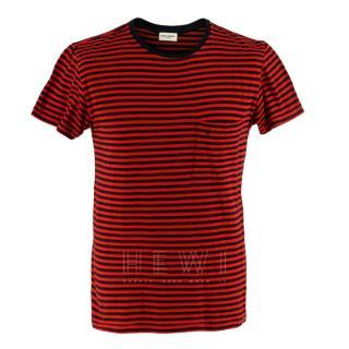 Saint Laurent Red & Black Striped T-shirt