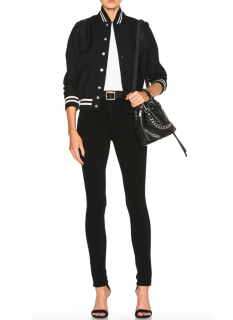 Saint Laurent Wool Blend Leather Trim Teddy Bomber Jacket