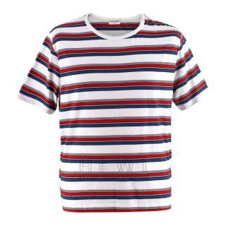 Saint Laurent Blue, White & Red Striped T-shirt