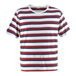 Saint Laurent Blue, White & Red Striped T-shirt