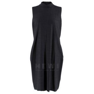 Maison Margiela Wool Blend Sleeveless Charcoal Dress