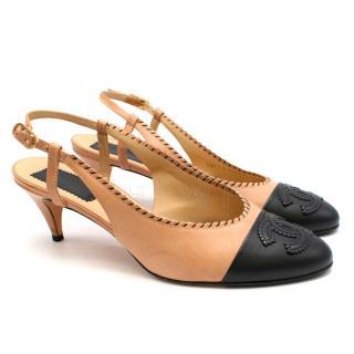 Chanel Kitten Heel Two-Tone Slingback Sandals