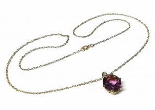 Bespoke Amethyst & Diamond Yellow Gold Pendant Necklace