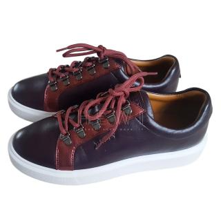 Bally Burgundy Leather Trainers
