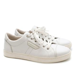 Dolce & Gabbana White Leather Lace-up Trainers