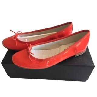 Repetto Peach Patent Leather Ballerina Flats