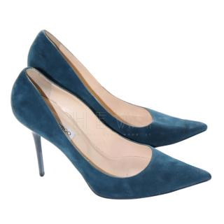 Jimmy Choo Teal Suede & Patent Leather Pumps