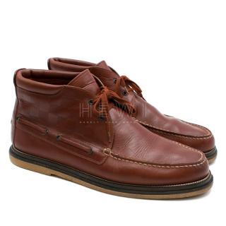 Louis Vuitton Chesnut Men's Leather Damier Panel Boots