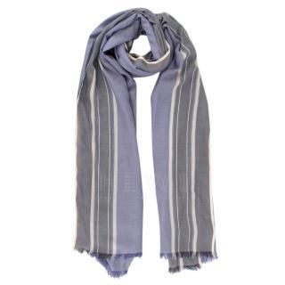 Loro Piana Blue & Grey Striped Frayed Scarf