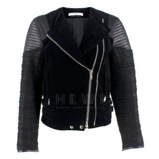 Givenchy Black Velvet, Tweed and Leather Jacket