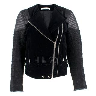 Givenchy Black Velvet, Tweed and Leather Jacket