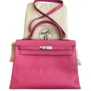 Hermes Chevre Leather Fuchsia 32cm Kelly Bag