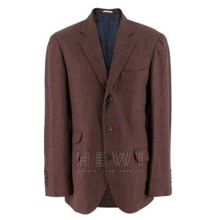 Brunello Cucinelli Burgundy Check Blazer