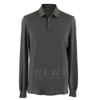 Loro Piana Grey Long Sleeved Polo Shirt