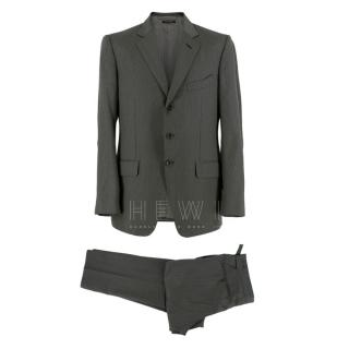 Tom Ford Grey Wool Single Breasted Pin Stripe Suit