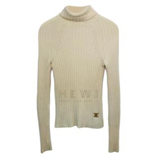 Celine Cream Ribbed Knit Roll Neck Cashmere Sweater