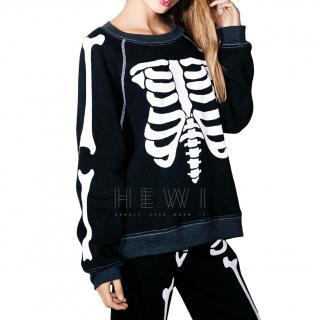 Wildfox Couture Black Skeleton Sweatshirt