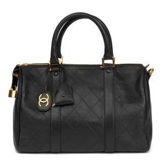 Chanel Black Leather Boston 35 Tote Bag