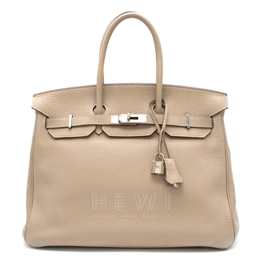 Hermes Argile Taurillion Clemence Leather 35cm Birkin